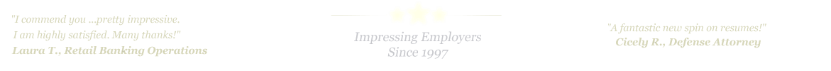 Spring Resume Service... IMPRESSING EMPLOYERS SINCE 1997!